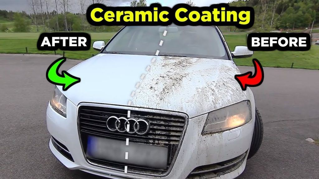 Picture of an Audi showing how muddy water sheets off ceramic coating