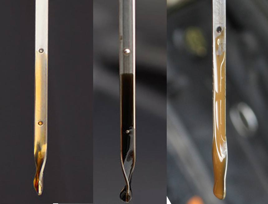 Picture of clean oil, dirty oil, and milky oil on dipsticks