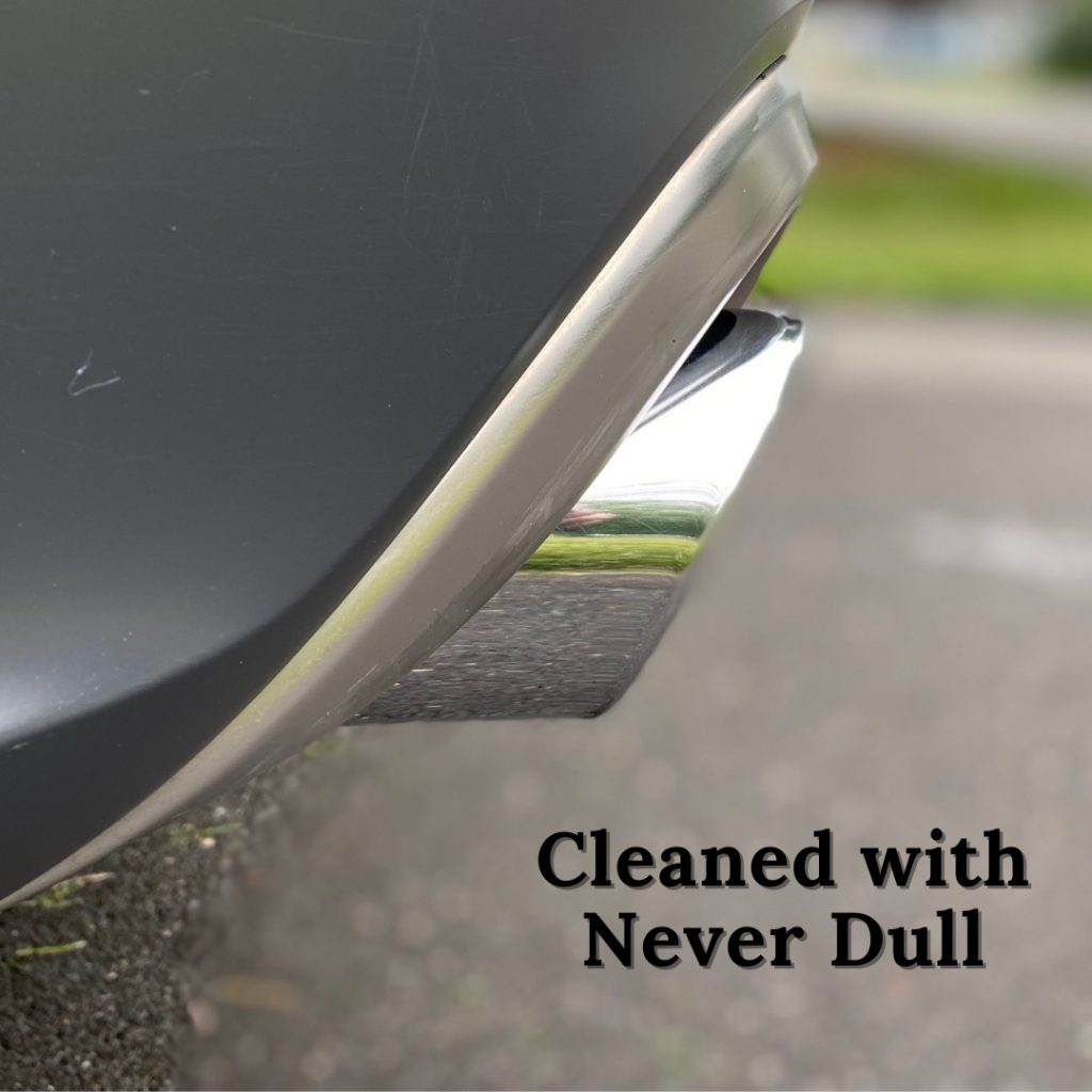 picture of an exhaust tip cleaned with Never Dull