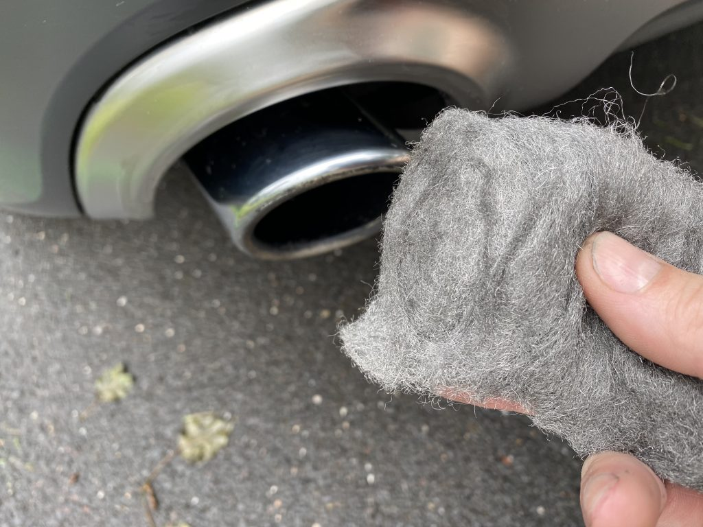 Photo of steel wool cleaning exhaust tips